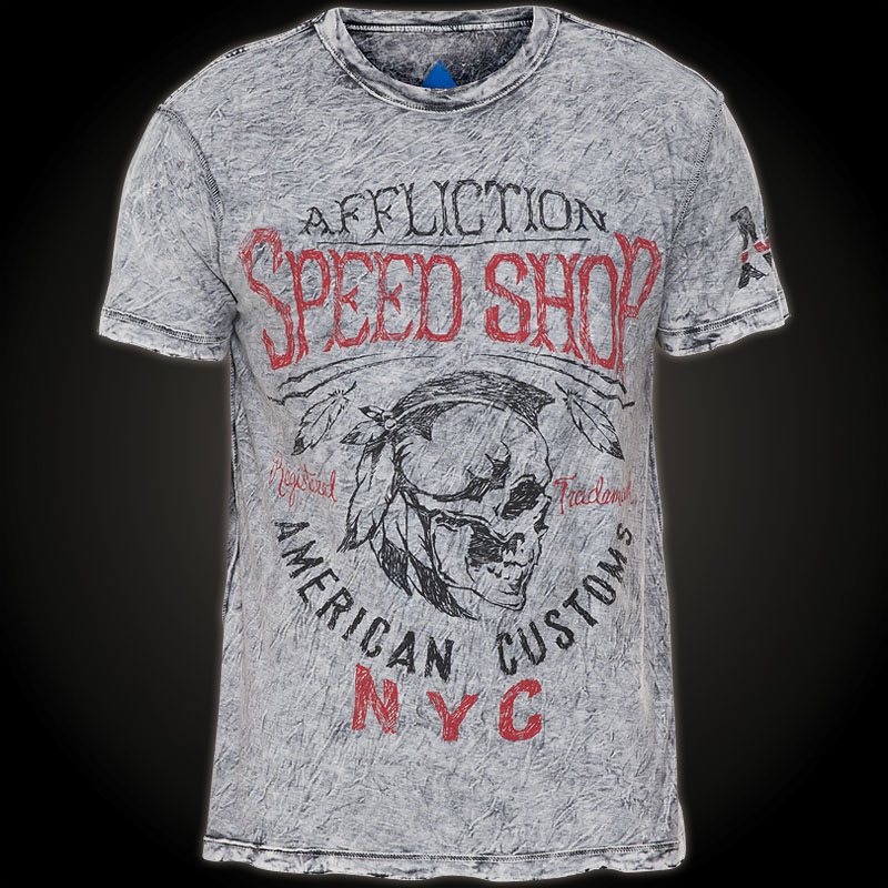 Affliction T Shirt Motor Oil With A Biker And An Engine