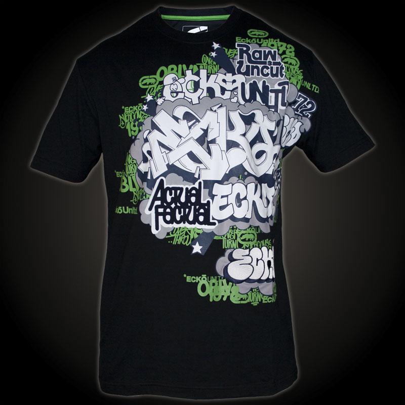 Ecko Unltd. T-Shirt Graffiti Bridge. Black T-Shirt ...