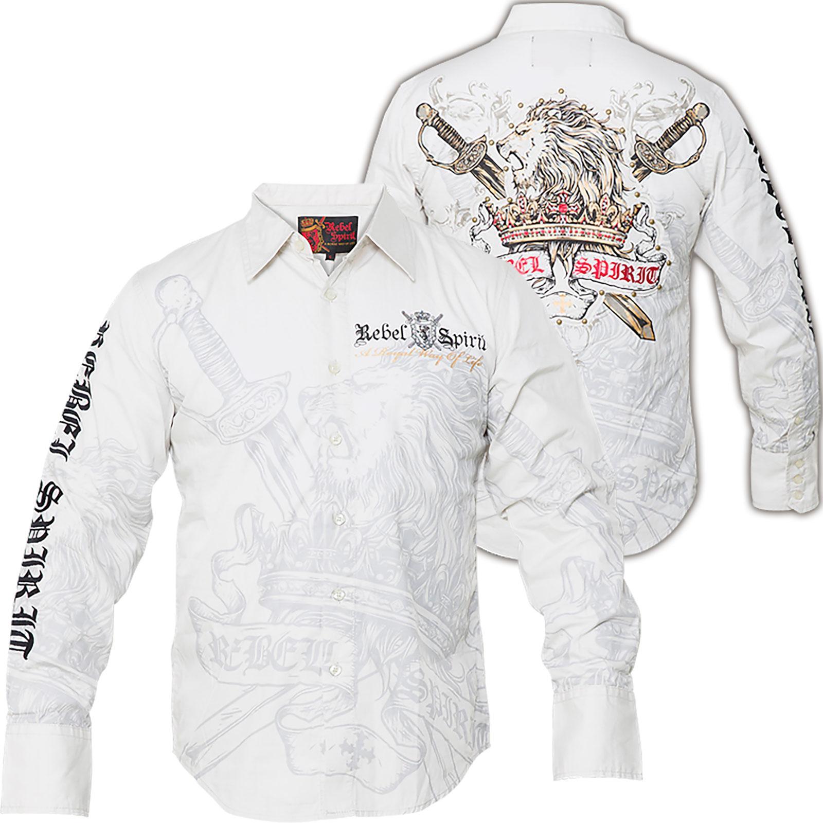 rebel spirit ls shirt lsw121290 shirt with large prints