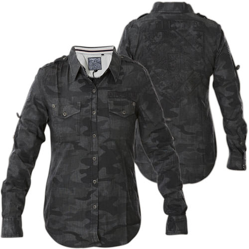 affliction freedom black button down with a camo print. Black Bedroom Furniture Sets. Home Design Ideas