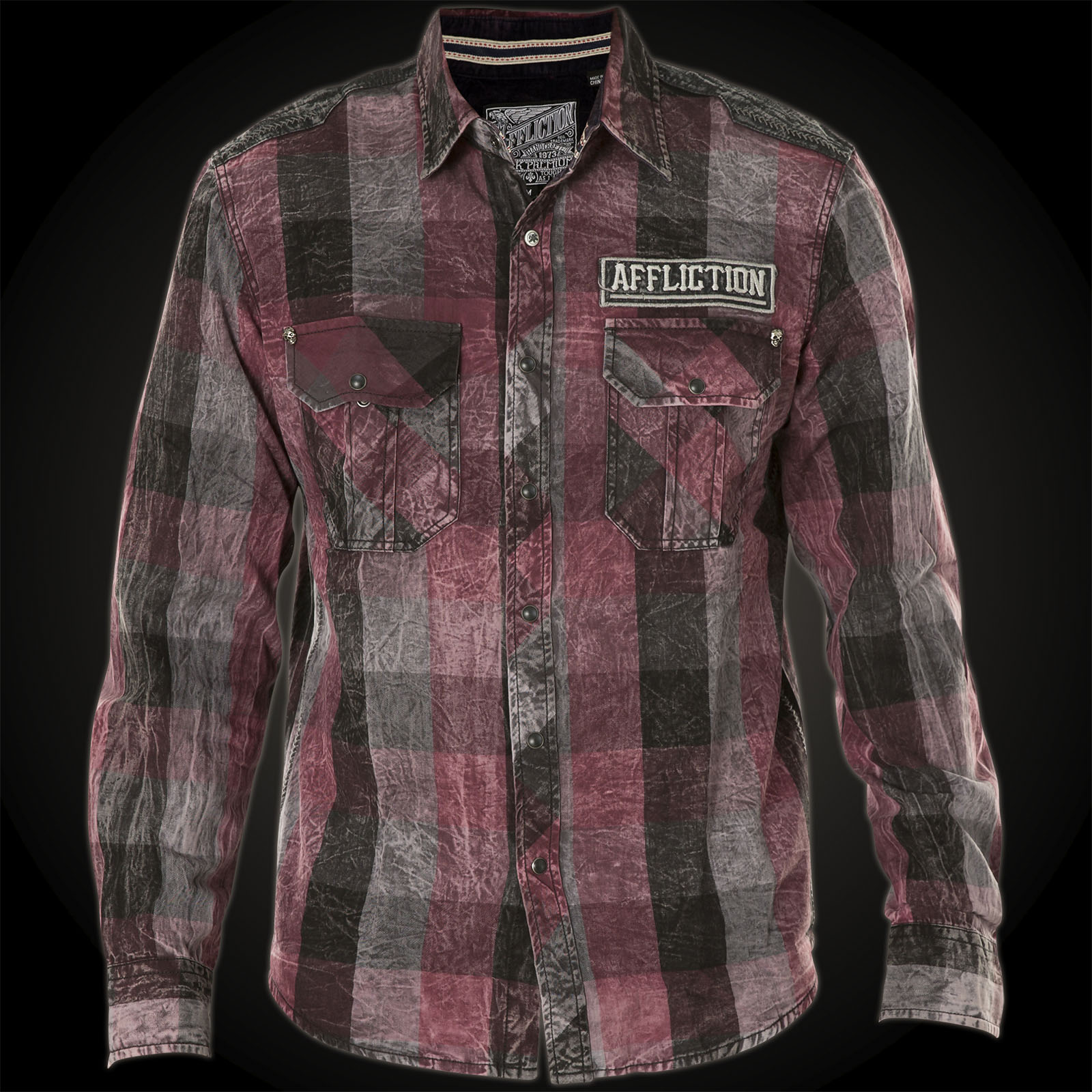 affliction shirt night ride button down with a winged skull. Black Bedroom Furniture Sets. Home Design Ideas