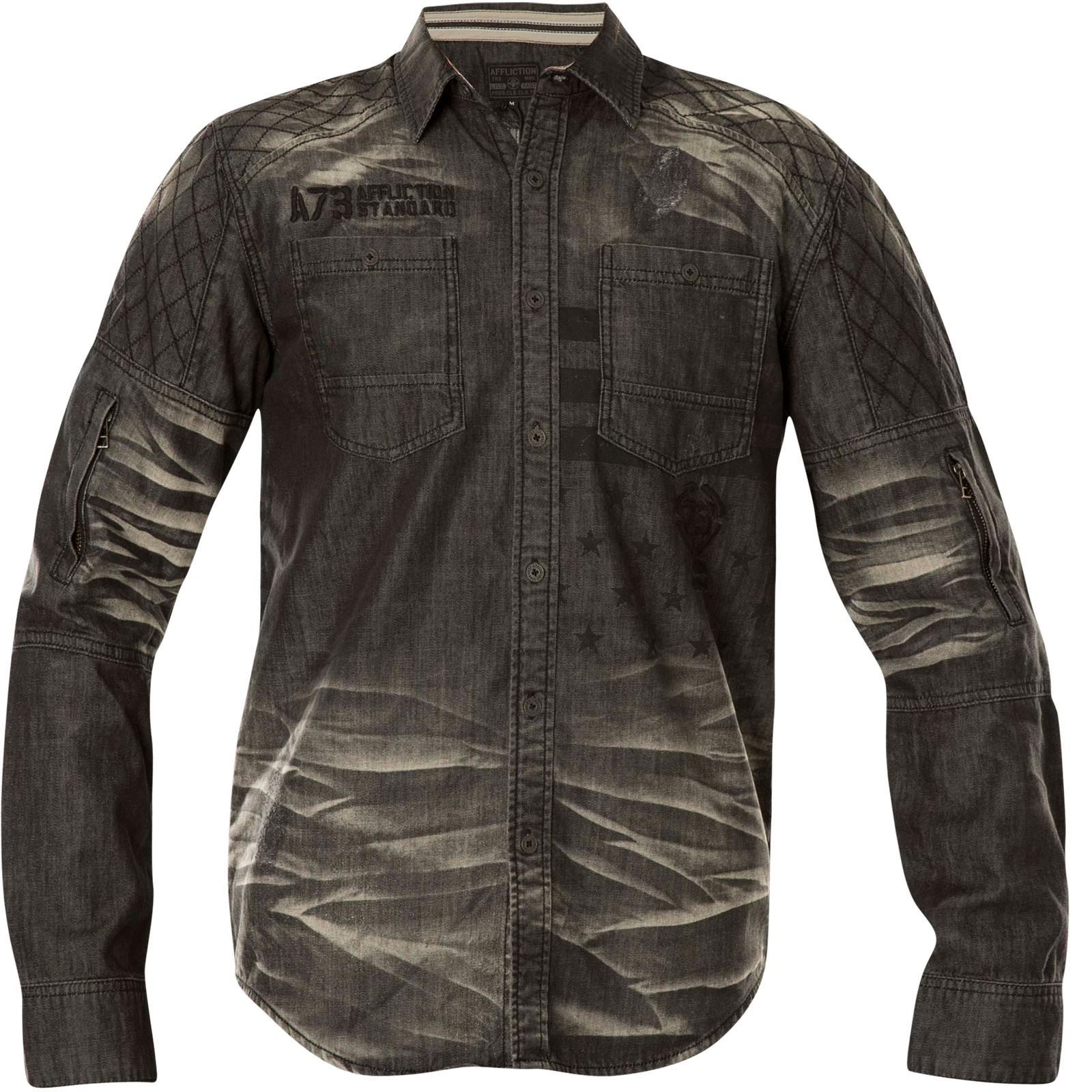 Affliction Denim Shirt Climate Control With A Print And