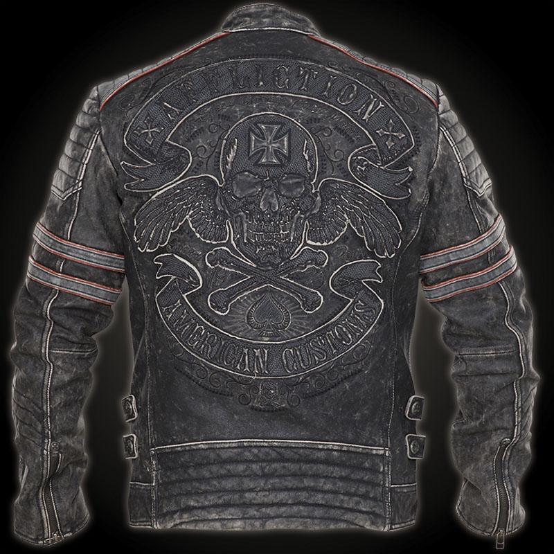 affliction fast lane jacket leather jacket with a skull. Black Bedroom Furniture Sets. Home Design Ideas