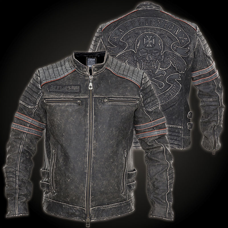 Affliction Fast Lane Jacket Leather Jacket With A Skull