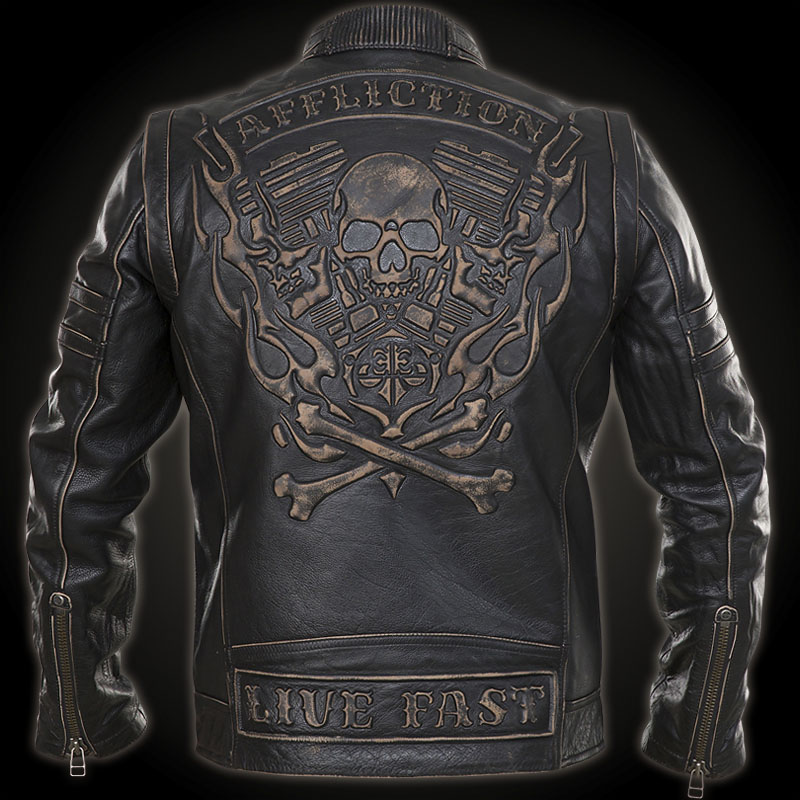 Affliction Rebellious Leather Jacket With 3d Applications