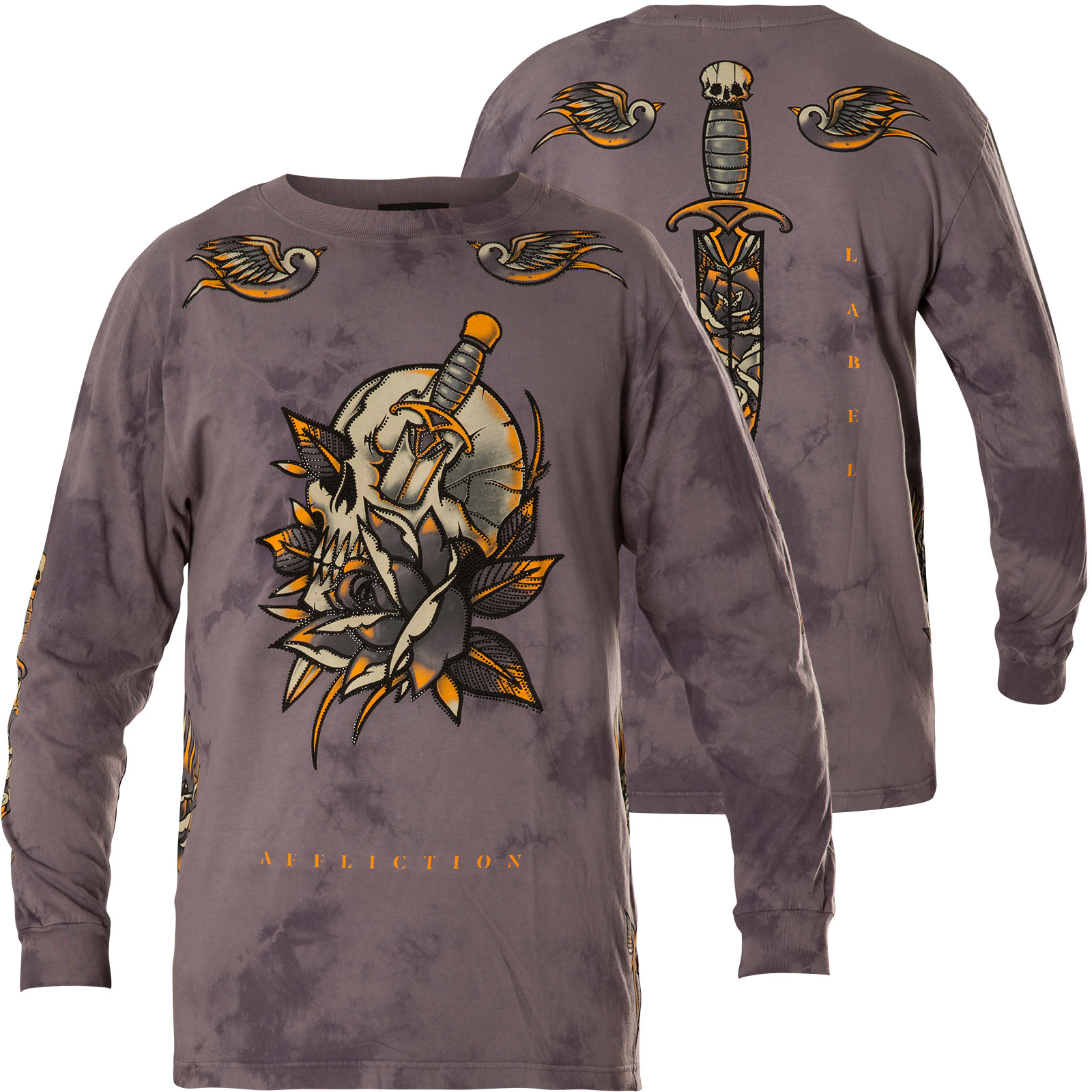 1440c7243fd Affliction Thermal Soul Sacrifice Print featuring a skull and lots ...