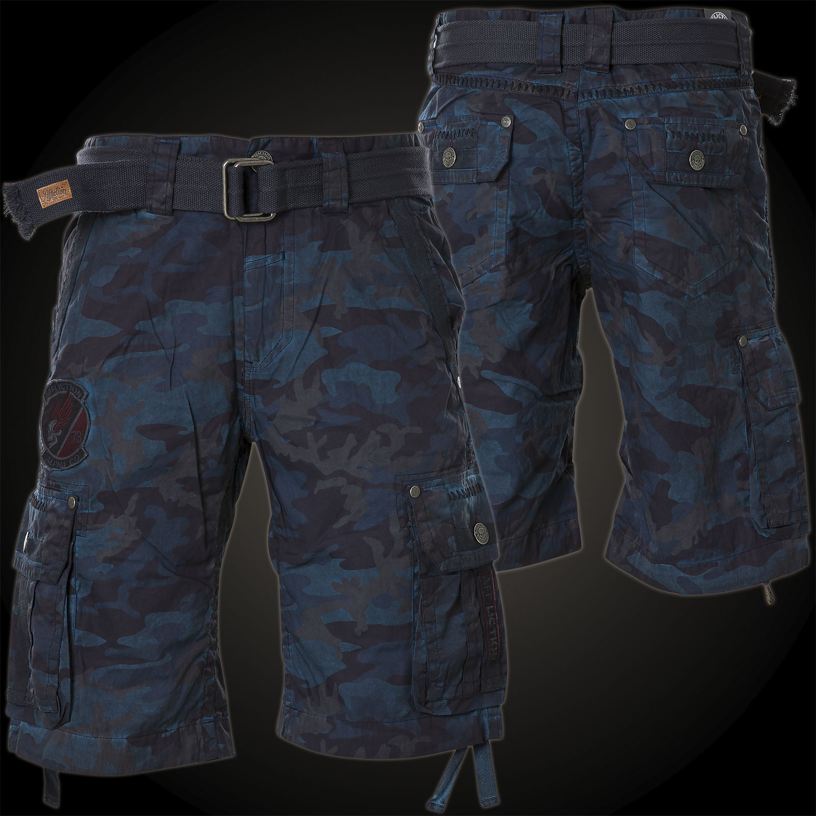 affliction break out cargo shorts with embroidering and