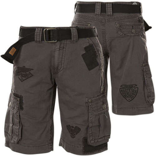 f73c9ece87a Affliction Cross Of Iron Cargo Shorts with a belt and embroidery