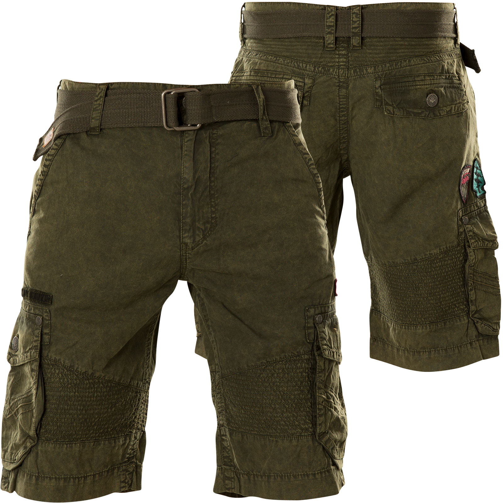 139bc582678 Affliction Hayden Cargo Shorts with embroidered logo patches