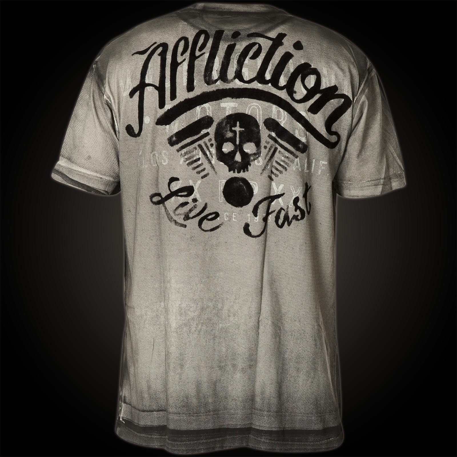 affliction t shirt corpus christi ii print featuring a skull
