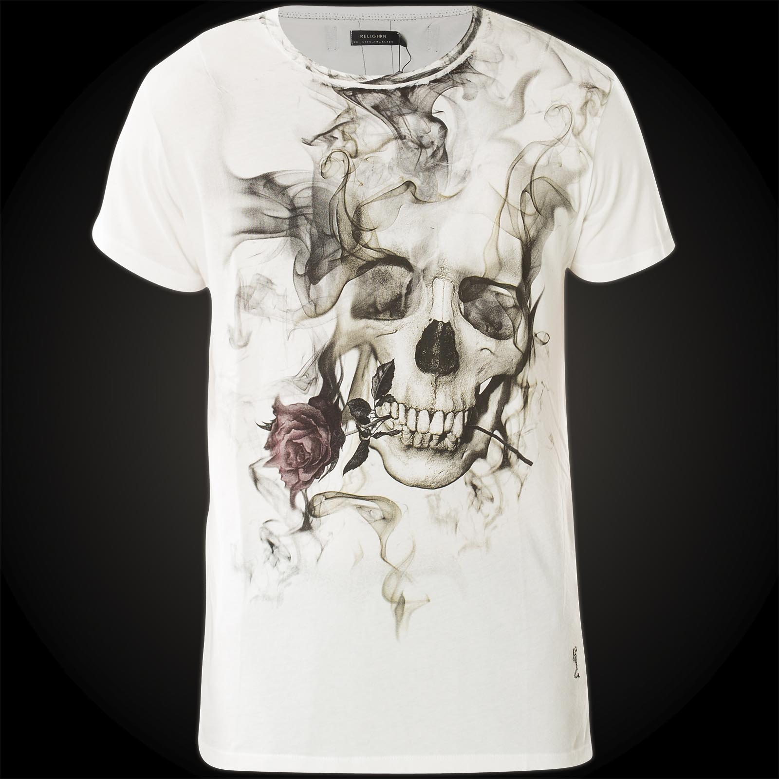 3abe2131 Religion T-Shirt Smokey Skull 37BSSF39 with a smoking skull and a rose
