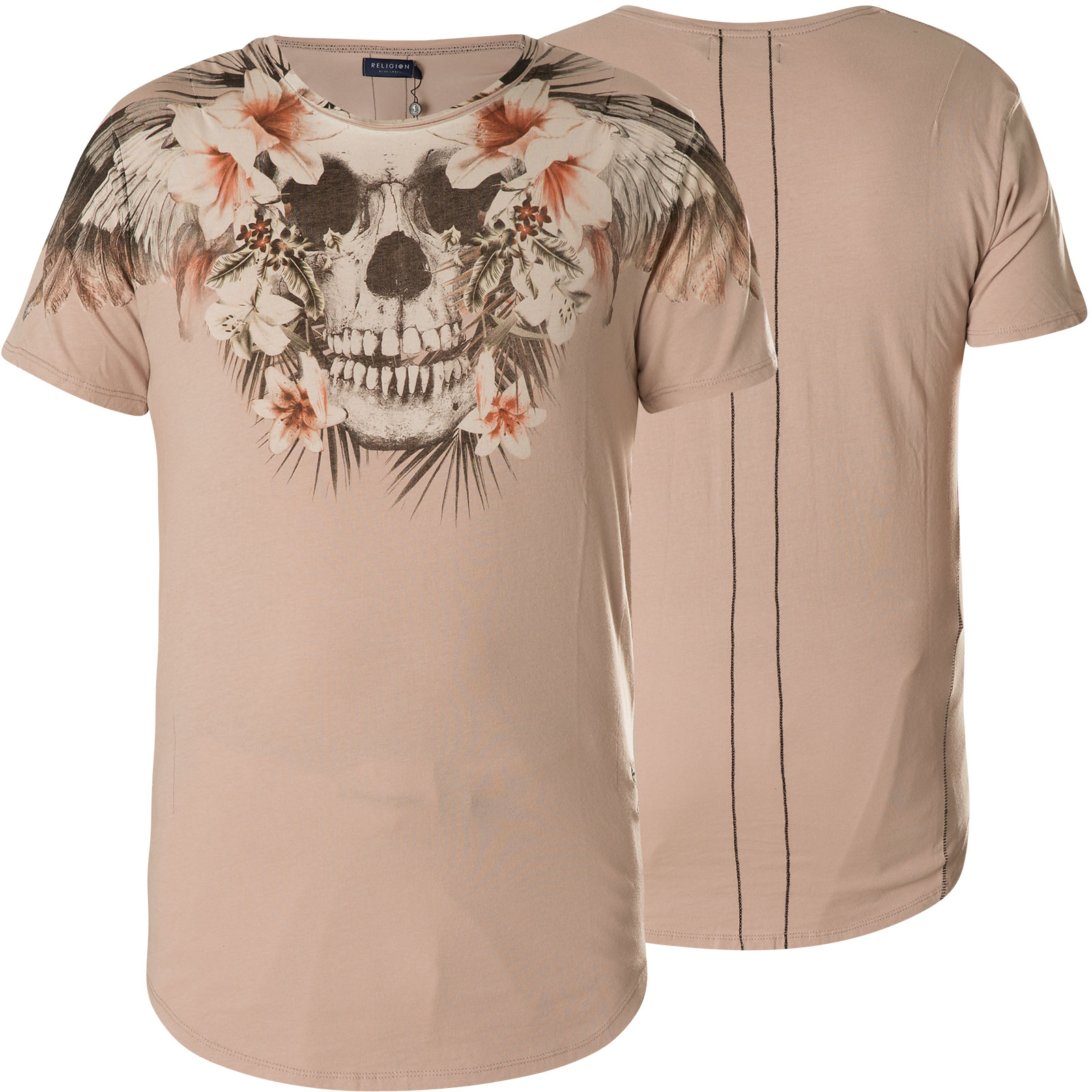 da0f672d7e2ec Religion T-Shirt Tropical Skull Curve Hem Tee 48BTSF30 Ashes Of Roses.  Loading zoom
