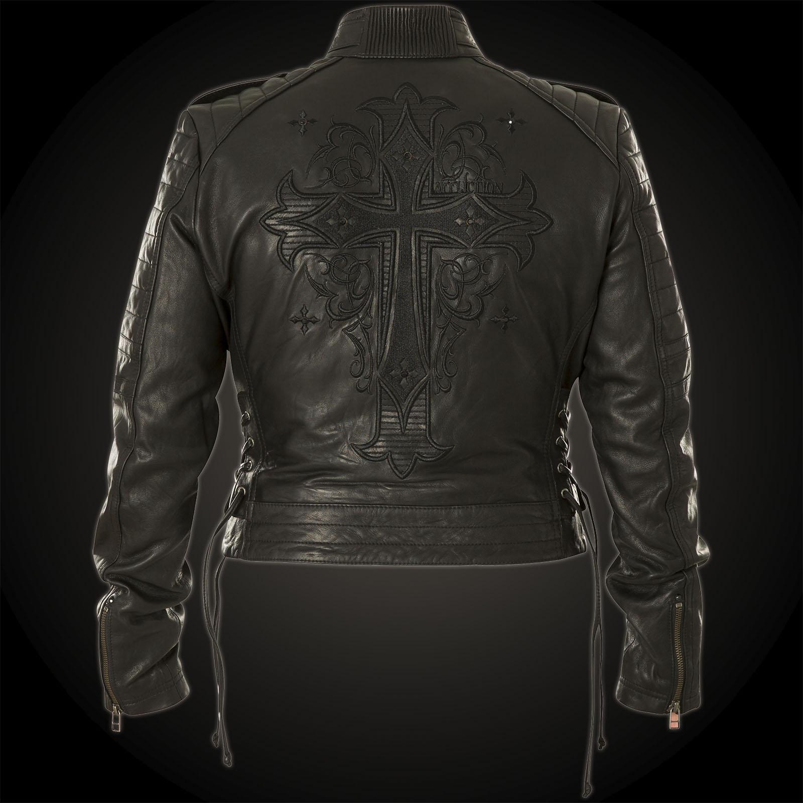 Affliction Woman Jacket Leather Blacktrail Black T1uKlFJc3