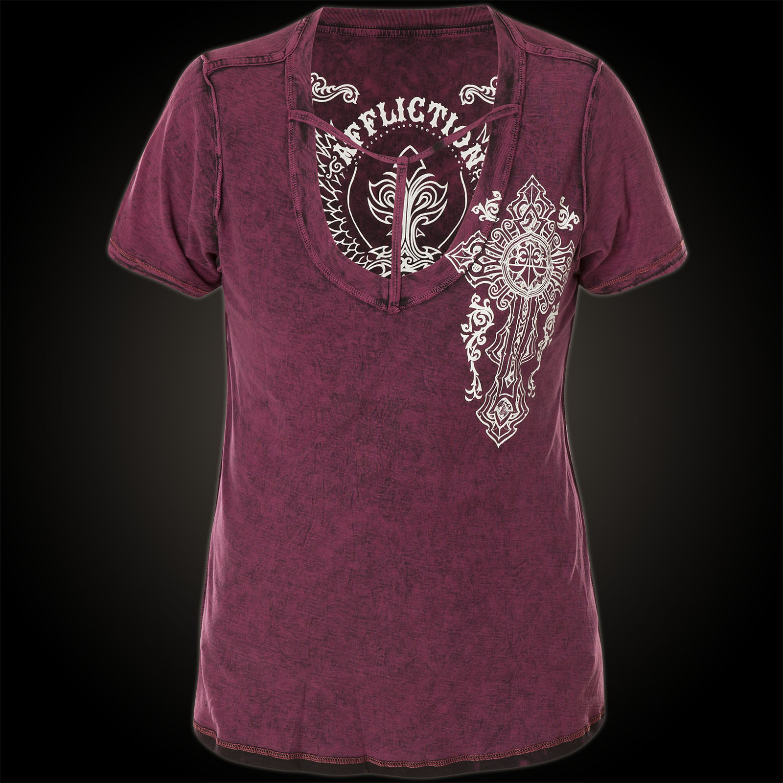affliction t shirt iron soul rev with a large skull