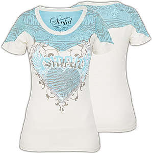 f35f443adc3 Sinful Magdalena T-Shirt - Shirt with print designs, fabric insertions and  rhinestones