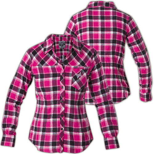 dab7489d9 Tapout Shirt Hotpink Girls Flannel button-down shirt with logo embroidering