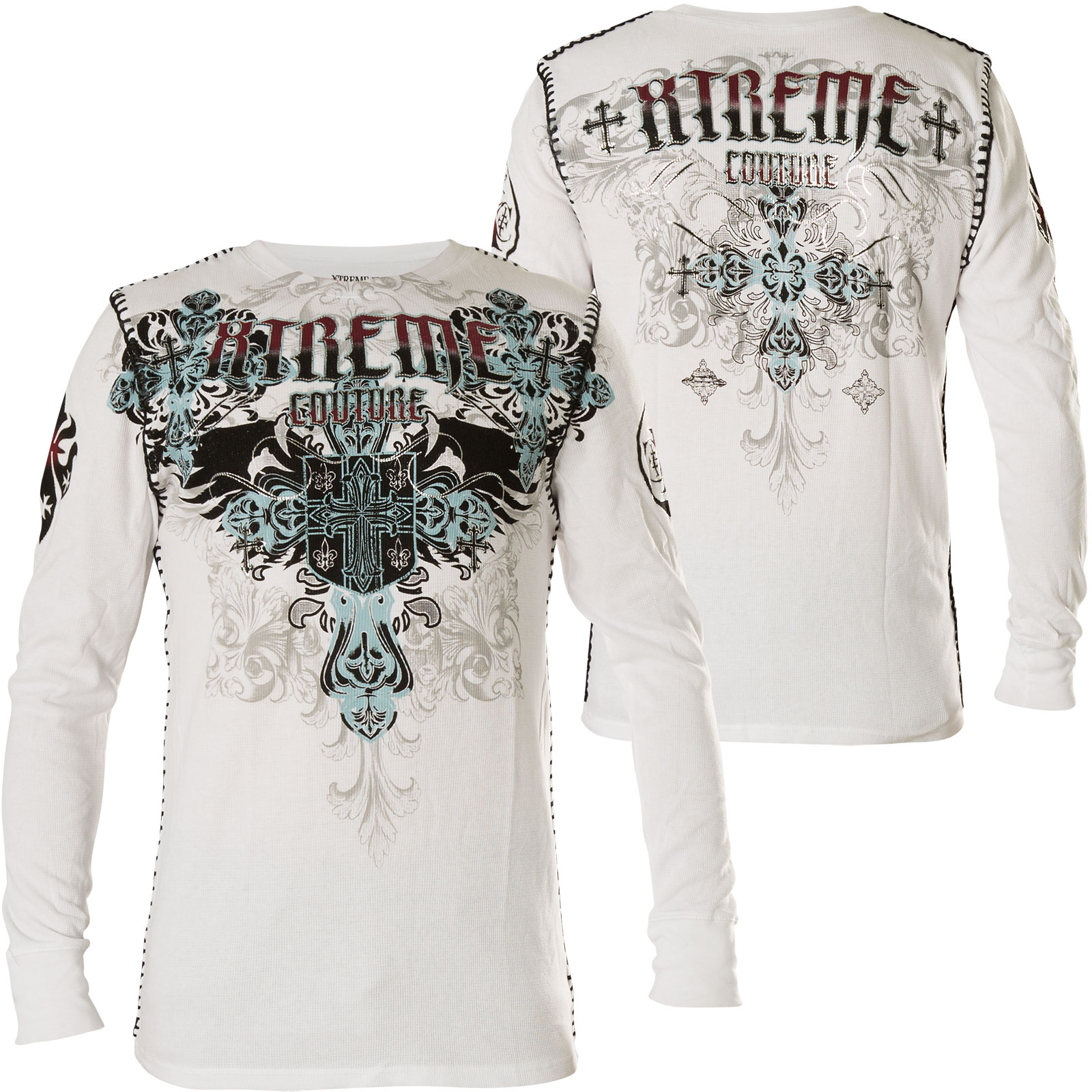 8bd32047c07 Xtreme Couture by Affliction Thermal Classic Creast Print of a cross