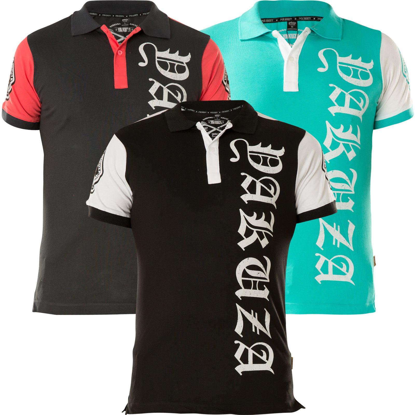 YAKUZA 893 Two Face Polo Shirt TPO-12025 Schwarz T-Shirts